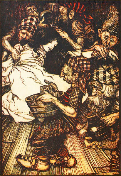 The Dwarfs, when they came in the evening, found Snowdrop lying on the ground.