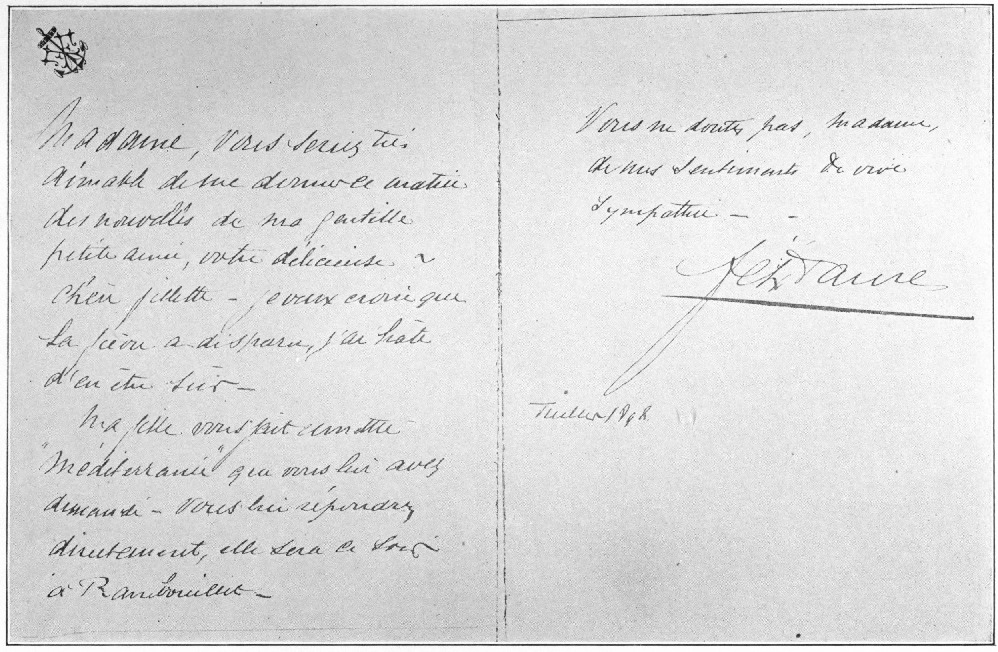 A LETTER FROM FELIX FAURE TO MME. STEINHEIL