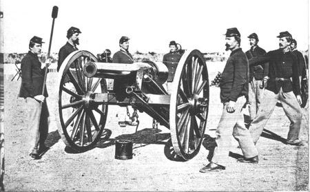 The Parrott Rifle, recognizable by the wrought iron jacket reinforcing its breech, was one of the first rifled field guns used by the U.S. Army.