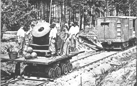 "Moved by special rail to the Petersburg front, the 13-inch mortar ""Dictator"" hurled 200-pound exploding shells at the Confederate earthworks over two miles away."
