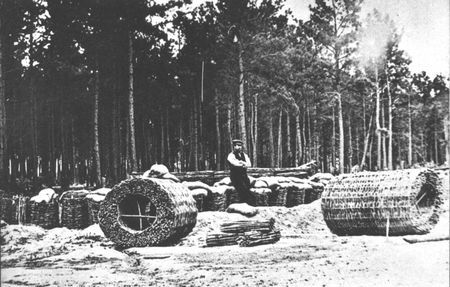 Gabions, open-end baskets filled with earth, proved as effective as masonary in defensive works. Thousands of these baskets were patiently made by hand for use in field and seacoast fortifications.