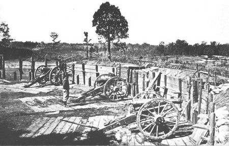 Confederate sappers constructed a number of artillery emplacements covering the avenues of approach to Atlanta. The guns in this fortification overlook famous Peachtree Street.
