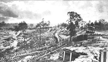 Chevaux-de-frise, made of logs pierced by sharp stakes, line the Georgia countryside. Confederate defensive measures such as this were effective in stopping cavalry and preventing surprise frontal attacks by infantry.