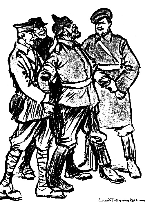 the project gutenberg ebook of raemaekers cartoon history of the 18th Century Aircraft german soldier being held by allied soldiers