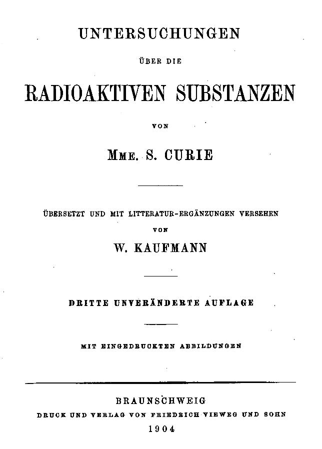 untersuchungen über die radioaktiven substanzen, Hause ideen