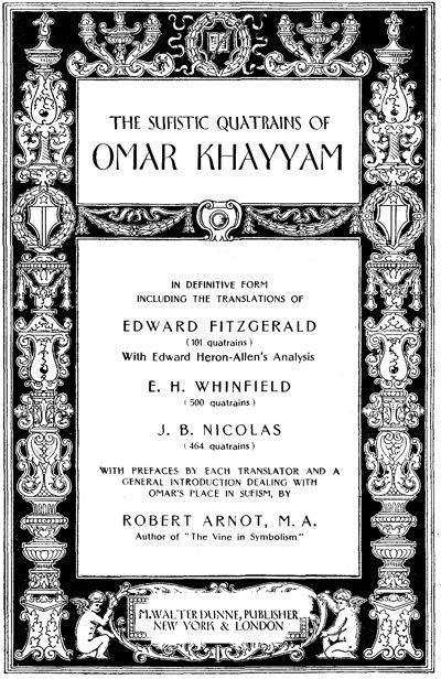 The Sufistic Quatrains of Omar Khayyam, by Omar Khayyam -- a