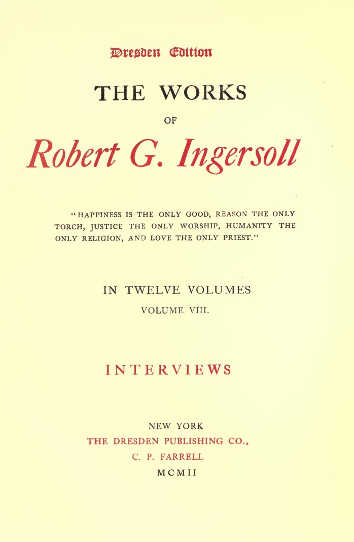The works of robert g ingersoll by robert g ingersoll with daughters babes upon his knees the white hair mingling with the gold fandeluxe Choice Image