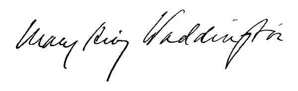 The project gutenberg ebook of letters of a diplomats wife by mary mary king waddington signature fandeluxe Images