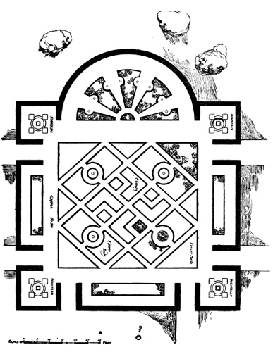 PLAN OF SUNK FLOWER GARDEN AND YEW HEDGES