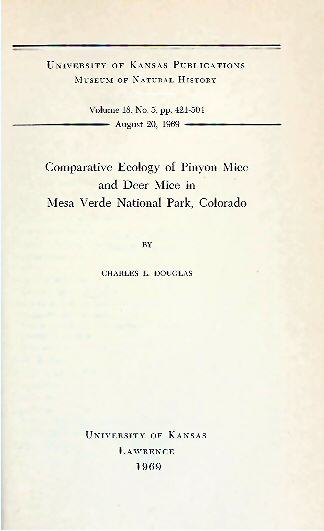 The project gutenberg ebook of comparative ecology of pinyon mice gutenberg ebook pinyon mice deer mice mesa verde produced by chris curnow tom cosmas joseph cooper and the online distributed proofreading team fandeluxe