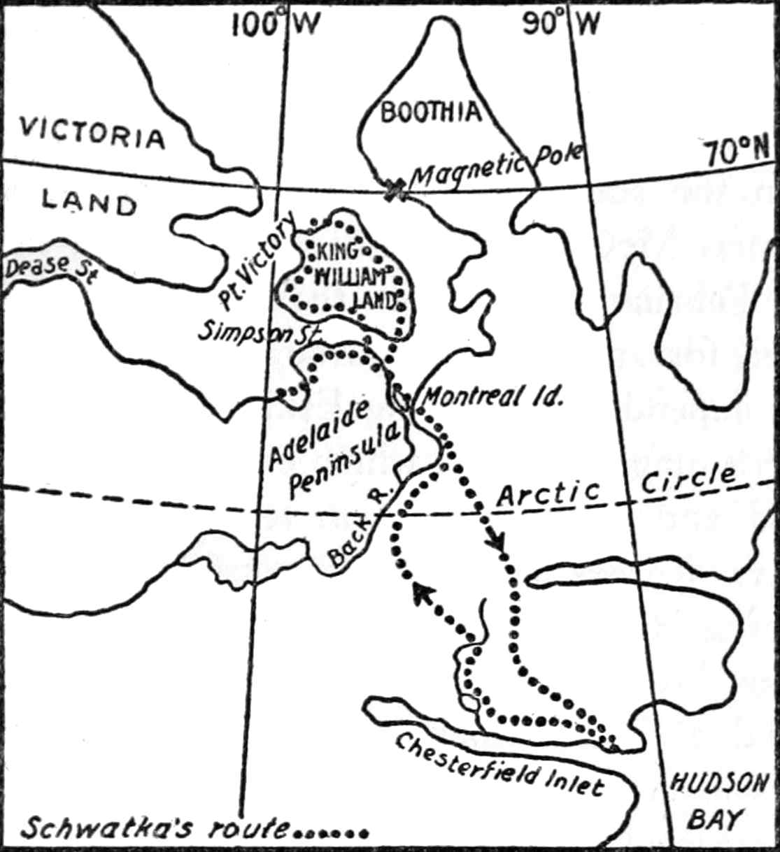 Schwatkas Route To And From King William Land