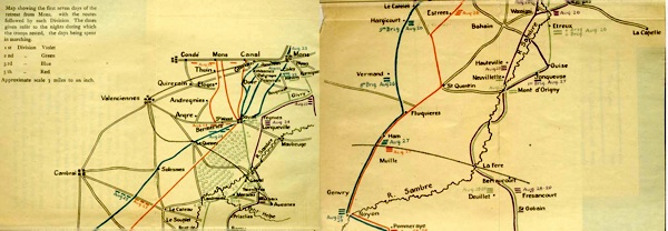 Map showing the first seven days of the retreat from Mons