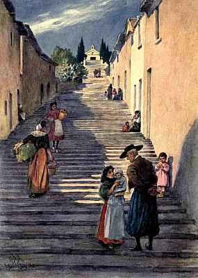 Street scene showing people on staircase