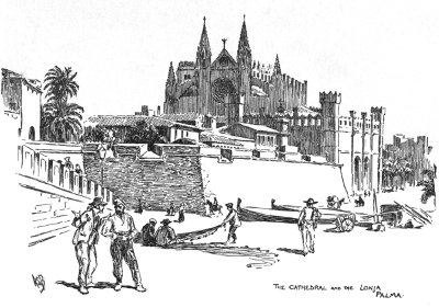 Palma scene with cathedral in background