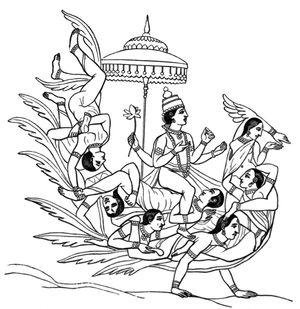 Krishnas Attendants Assuming The Form Of A Bird