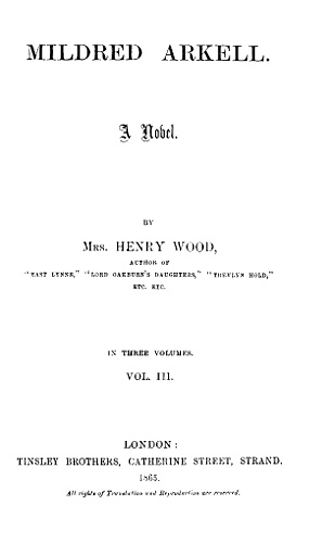 The Project Gutenberg Ebook Of Mildred Arkell By Mrs Henry Wood
