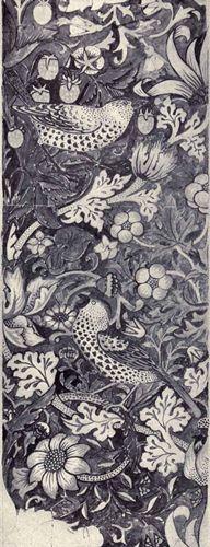 Walls Floors Metric Porcelain Tile William Morris Strawberry Thief Black 3