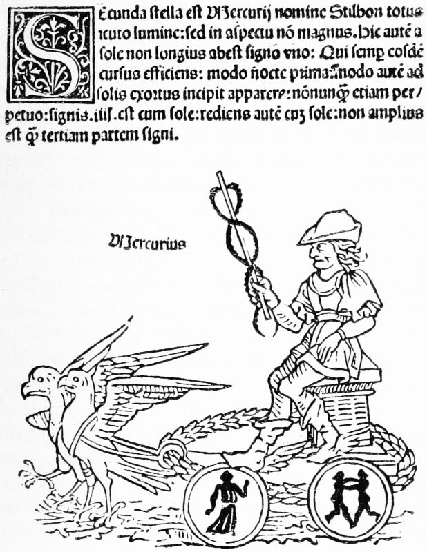 Woodcut Of Mercury From The Hyginus 1482