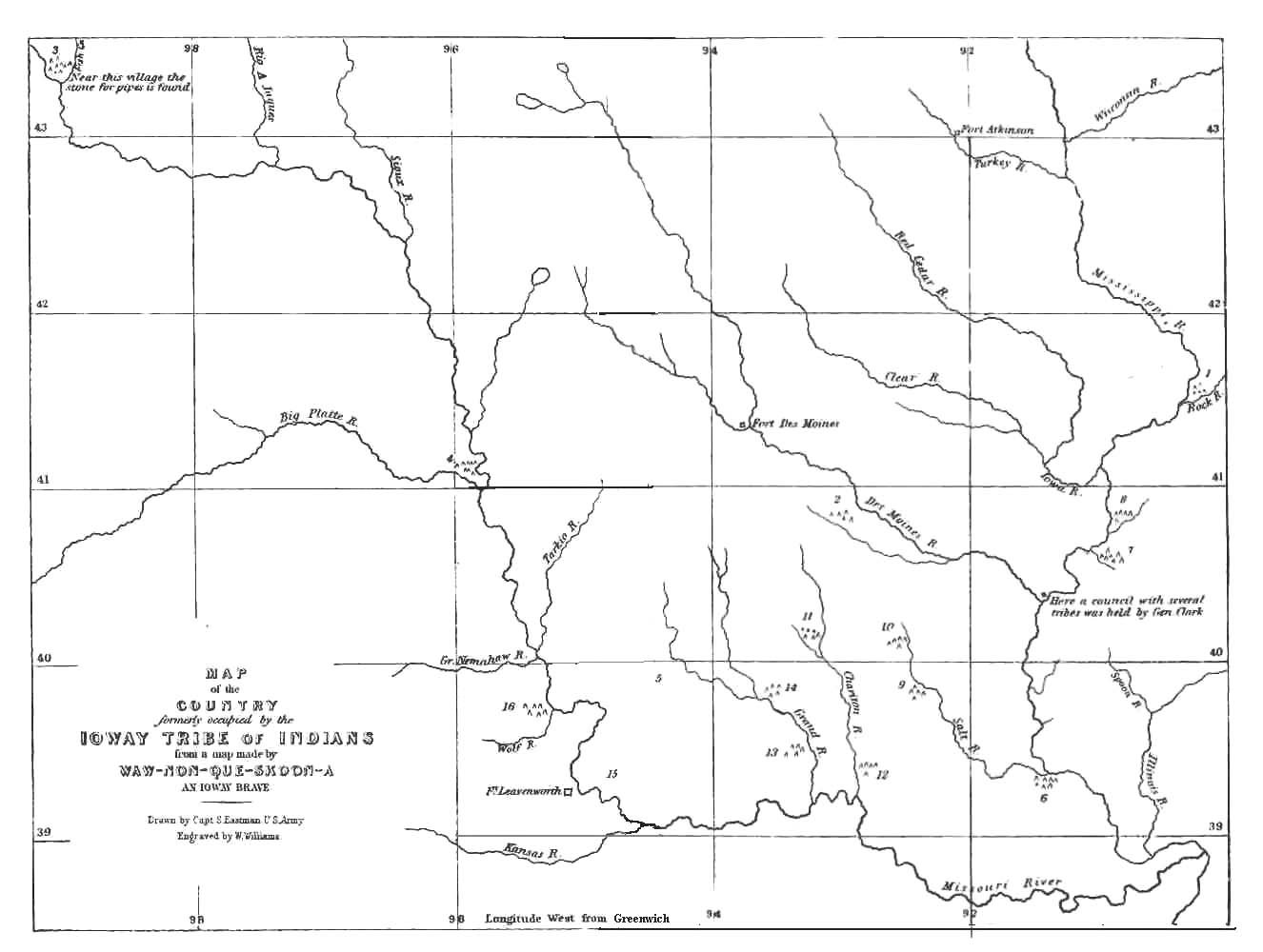The project gutenberg ebook of the iowa by thomas foster map of the country formerly occupied by the ioway tribe of indians biocorpaavc Images