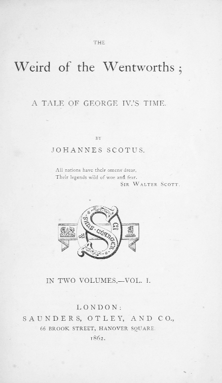 The Project Gutenberg Ebook Of The Weird Of The Wentworths Vol I