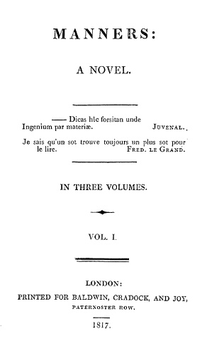 The Project Gutenberg Ebook Of Manners Vol 1 Of 3 By Frances Brooke