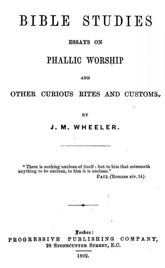 Bible Studies By J M Wheeler