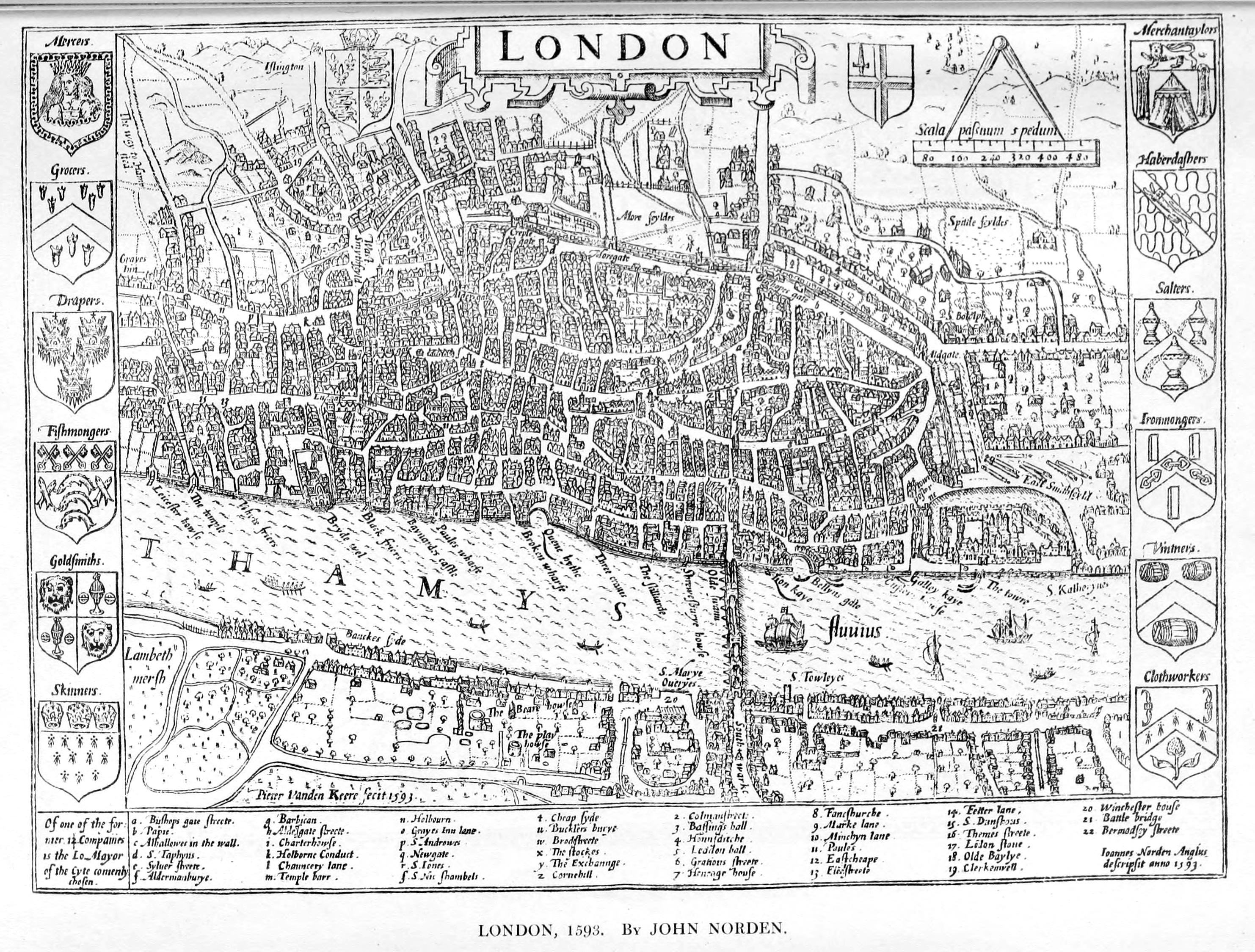 Maps Of Old London - London map 1600