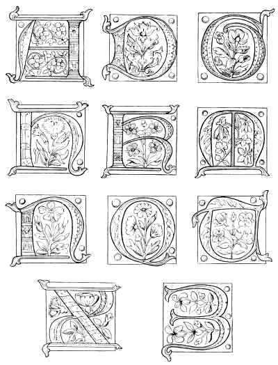 letters from an alphabet of the fifteenth century the remainder of the alphabet is shown in colors in plate ii