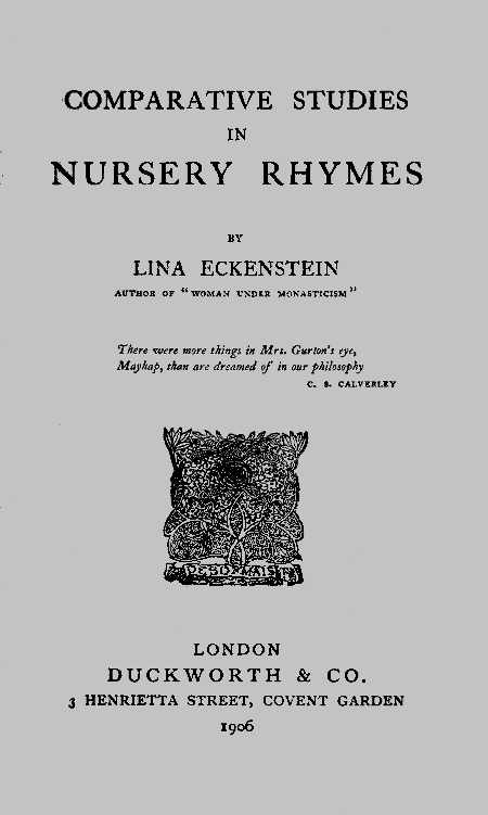 The Project Gutenberg Ebook Of Comparative Studies In Nursery Rhymes