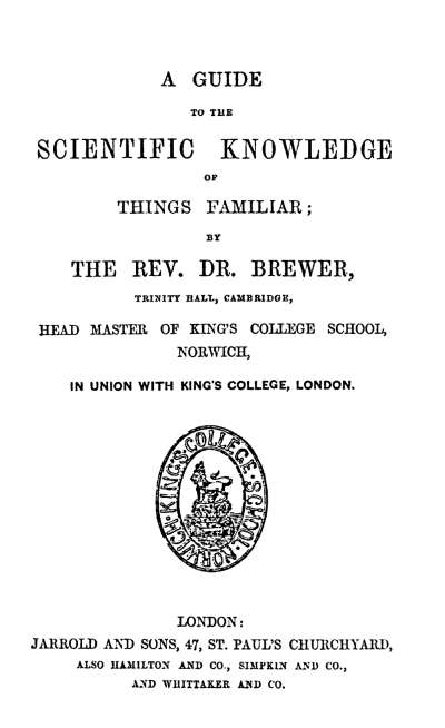 A guide to the scientific knowledge of things familiar by ebenezer a guide to the scientific knowledge of things familiar fandeluxe Image collections