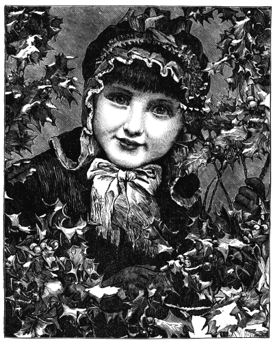 Girl surrounded by holly branches