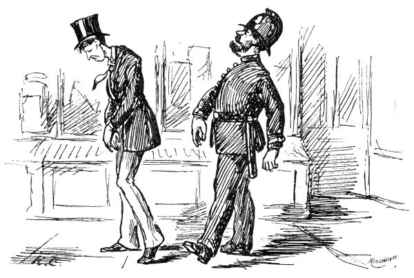 This is not a Culprit going to gaol—it is only a Gentleman in love who happens to be walking before a Policeman!