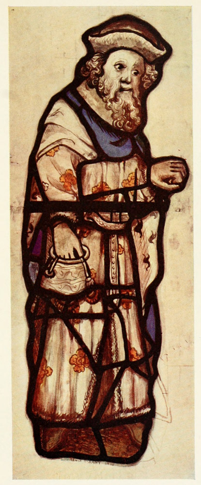 plate xxxix figure from visiting the prisoners in acts of mercy window all saints north street york fifteenth century