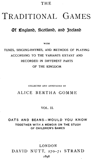The Project Gutenberg EBook Of Traditional Games England