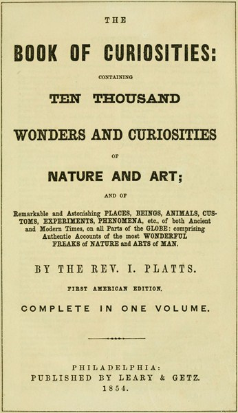 The book of curiosities by the rev i plattsa project gutenberg ebook the book of curiosities fandeluxe Images