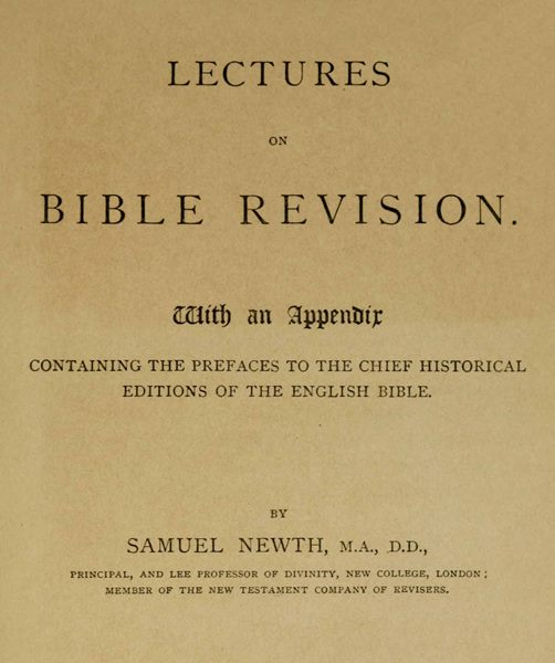 Lectures on bible revision by samuel newtha project gutenberg ebook lectures on bible revision fandeluxe Choice Image