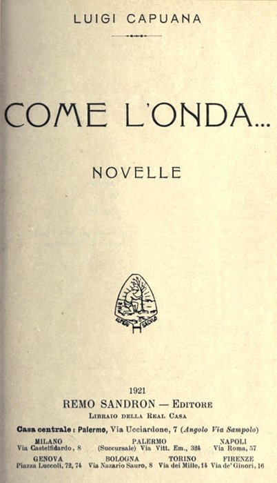 The Project Gutenberg Ebook Of Come L Onda By Luigi Capuana