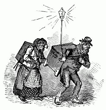 Man And Woman Carrying Boxes On Their Backs