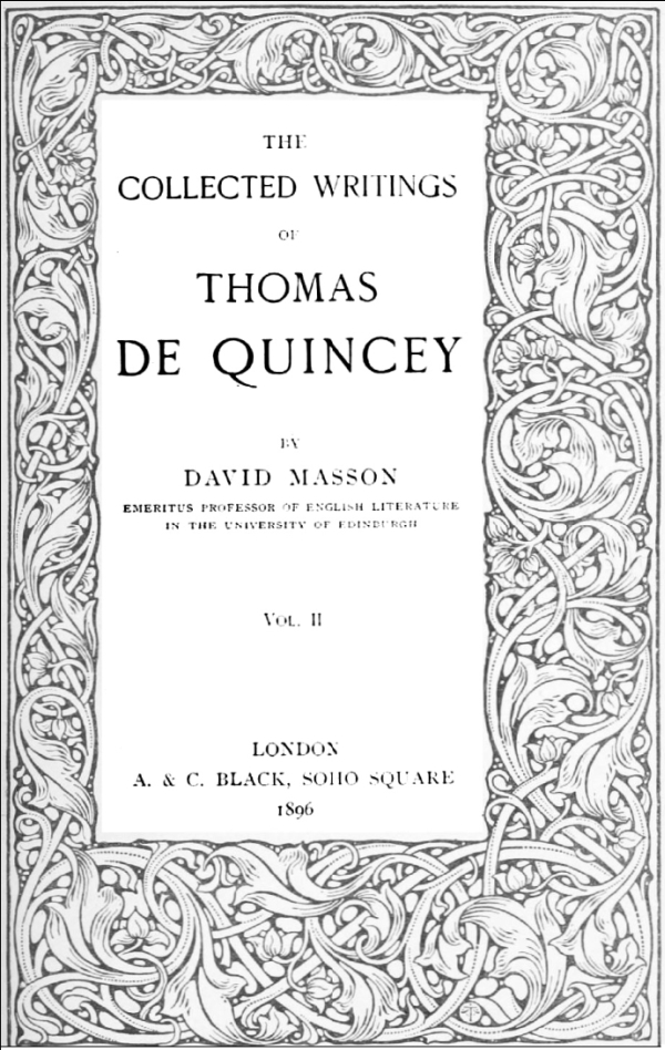 The Project Gutenberg Ebook Of De Quinceys Collected Writings Vol