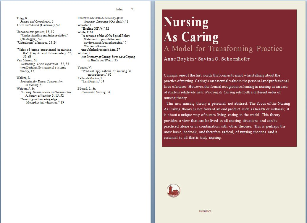 NURSING AS CARING by Anne Boykin and Savina O  Schoenhofer