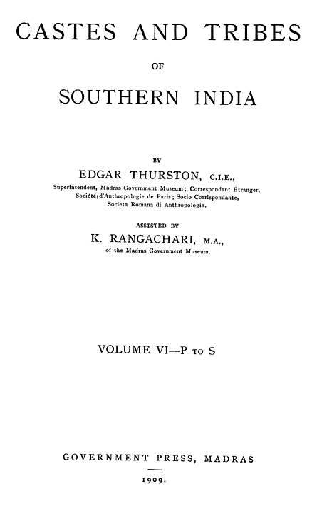 Castes and tribes of southern india vol 6 of 7 english