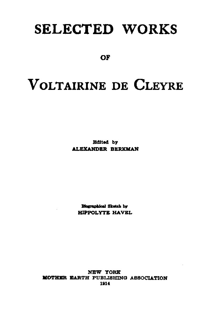 Selected Works Of Voltairine De Cleyre By Voltairine De Cleyrea  Book Cover