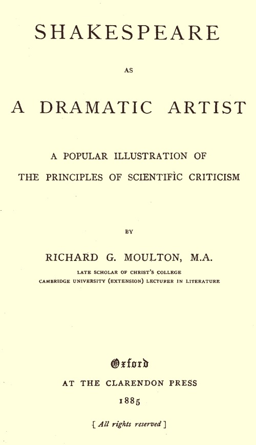 The Project Gutenberg eBook of Shakespeare as a dramatic artist, by ...