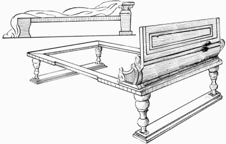 A Roman bakeryFrame work of a Roman dining couch