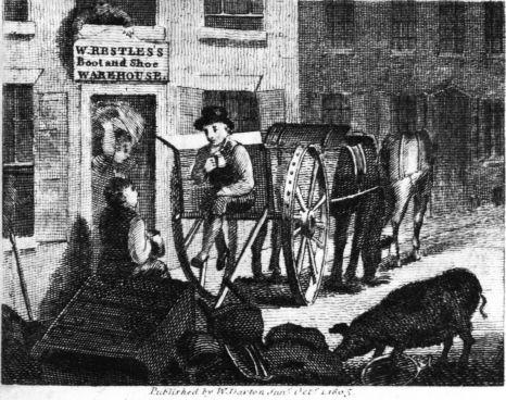 man on back of cart