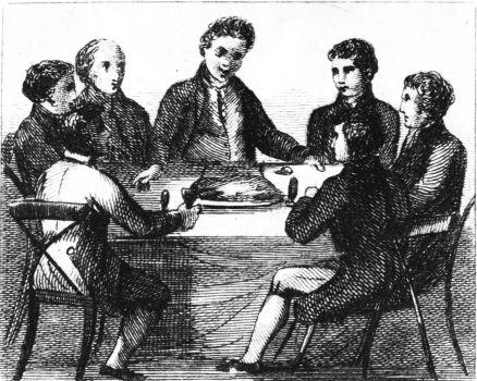 men sitting around a table