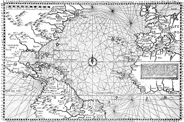 loxodromic chart of north atlantic ocean 1565 a plain chart with laude degrees of equal length