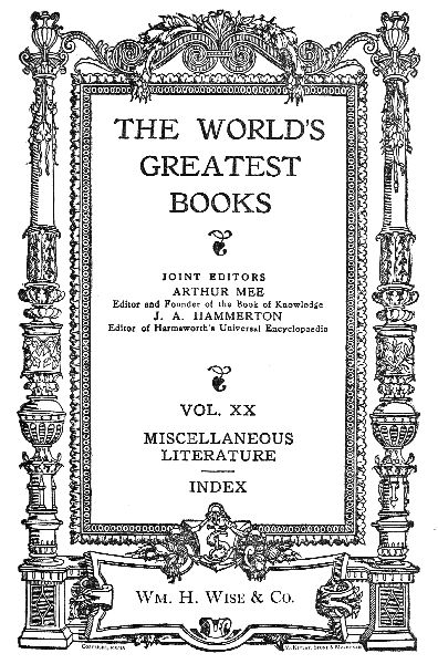 The Project Gutenberg Ebook Of The Worlds Greatest Books Vol Xx