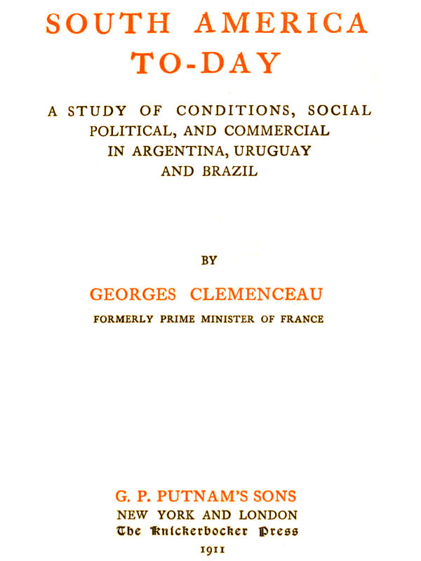 The Project Gutenberg EBook Of South America To Day By Georges