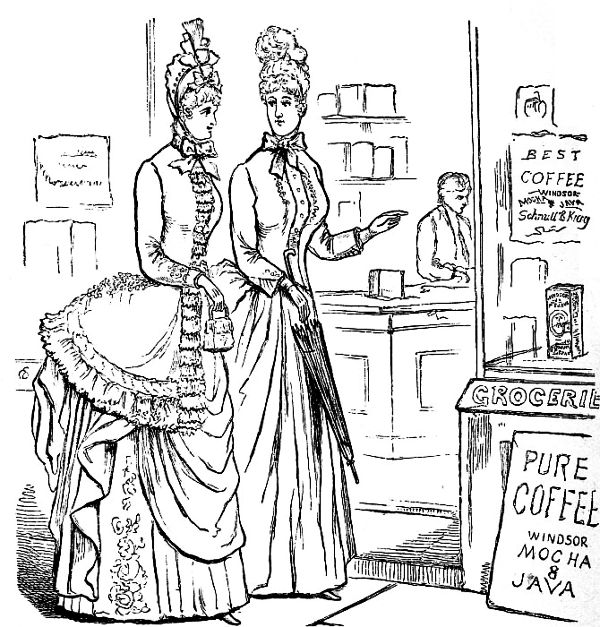 Two Women Shopping In Very Elaborate Dresses